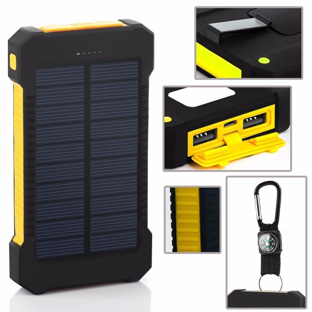 New 20000mah Solar Power Bank Portable external battery pack Charger Dual USB solar charger For all phone
