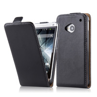 High Quality Commercial Flip Genuine Leather Phone Case Cover For HTC One M7