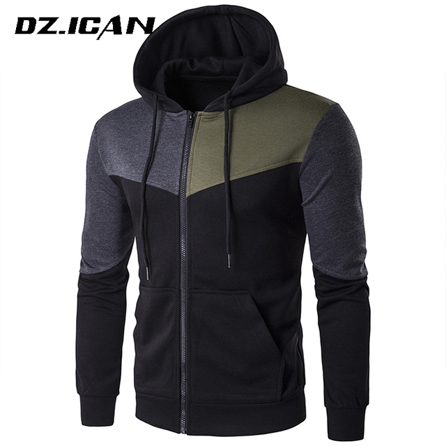 Funnel Neck Gym Wear Hoodie With Different Colored Sleeves
