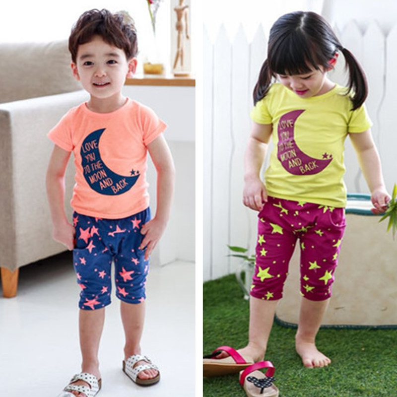Cheap Children Suit Sets Of Cute T-Shirt And Bottom Printed Pants For Girls And Boys