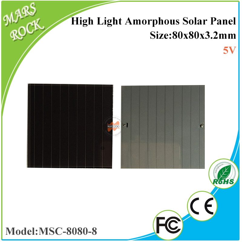 80x80x3.2mm 5V high light Thin Film Amorphous Silicon Solar Cells for outdoor Products, caps,kettles,