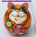 Orange Fat Cat Wooden Doll Pet with Ethnic Painting Ornament, Bell is Inside, Russian Folk Art and Crafts Wholesale