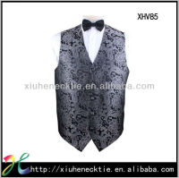 mens fancy sleeveless V neck pattern mens vest