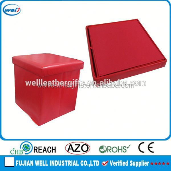 Square pu leather foldable storage case