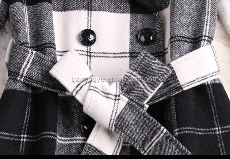 Wholesale women winter casual coat black and white plaid coat