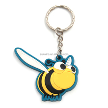 High quality custom 2D lovely bee shape rubber keyring soft PVC keychain