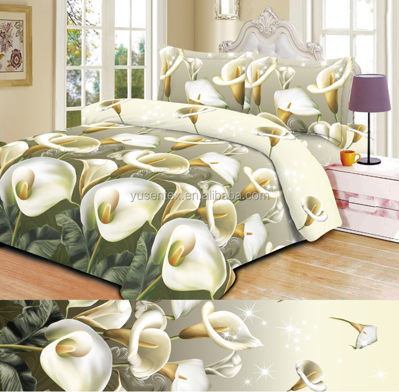 3D flower textile fabric design latest 100% polyester peach skin disperse printed bed sheet fabric for bedding