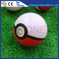 2017 Newest Design Custom Logo Print Cartoon 63mm Soft PU Pokeball Stress Ball In Stock