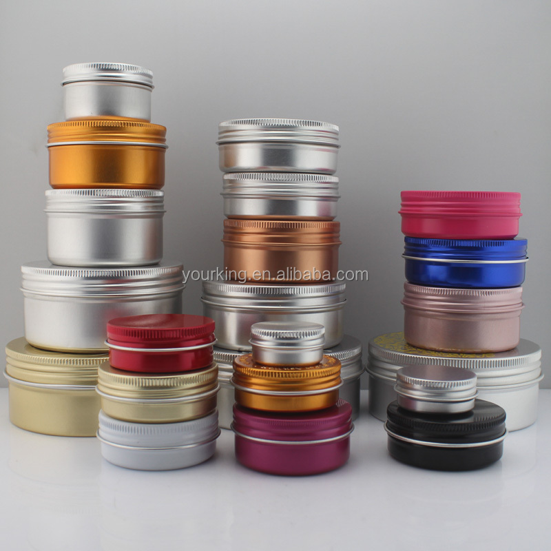Factory 10g 50ml 60ml 80ml 100ml aluminum cosmetic cream jar for skin care cream