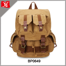 Outdoor Canvas Leather Camera Bag Travel Shoulders Backpack