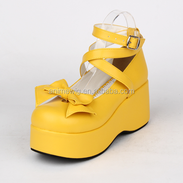 High quality fancy yellow and black lolita platform shoes with bow