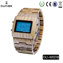 Unisex Alarm Watches Casual Wooden Color Leather Strap Watch Wood Male Wristwatch newest