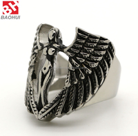 Fashion 316L Stainless Steel Large Cross Angel Wing Unisex Ring Band Vintage Gothic Punk Biker Silver Black