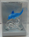 Wholesale custom transparent blue glass dolphin figurines in PVC box