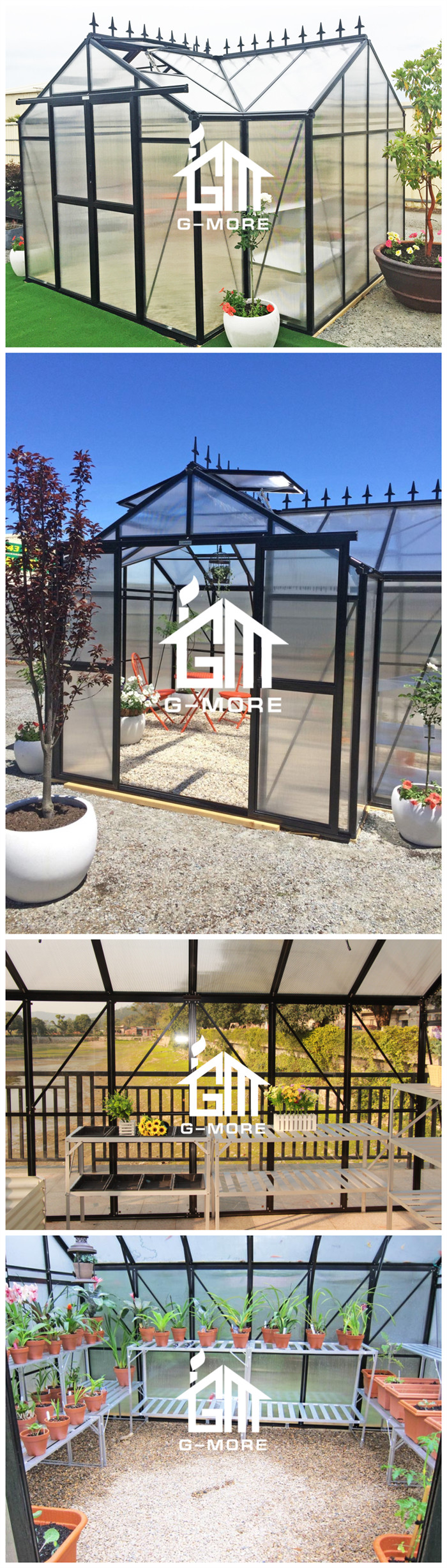 G-MORE Super Strong Large size Glass Conservatory with English Classic Style