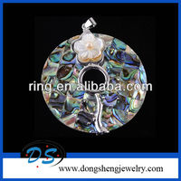 Fashion carved flower Abalone Shell Hang Pendant