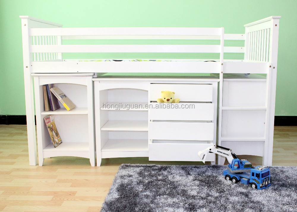 Solid Pine Wood Bed With Cabinet Mid Sleeper Loft Bed