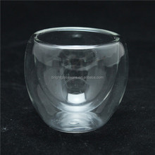 high quality clear thermo borosilicate double wall tea glass, double wall wine glass