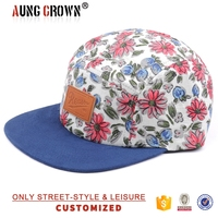 2015 newest floral fabric 5 panel hat wholesale