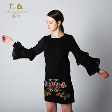2018 New product chiffon lace ruffle sleeve pullover women custom ladies sweaters