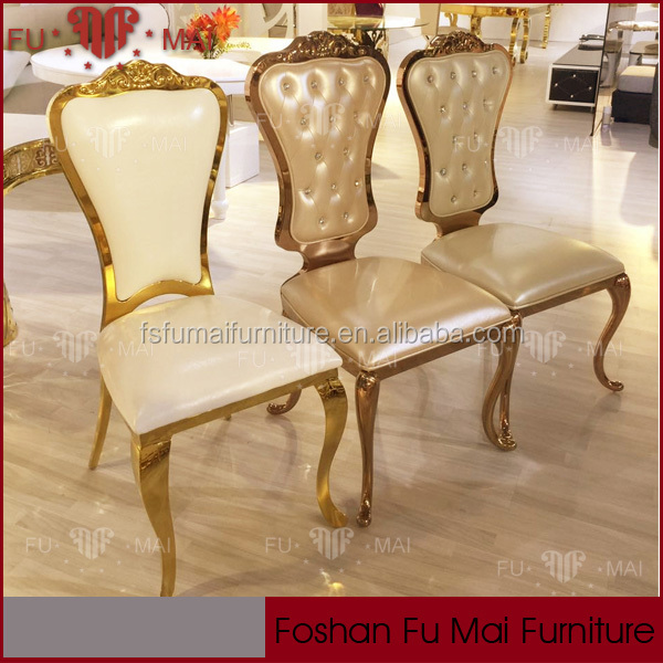 foshan top 10 supplier golden stainless steel chair furniture dining room for hotel