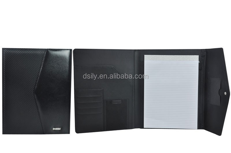 pu leather briefcase A4 portfolio case /women portfolio and men's meeting folder with calculator 013A140035