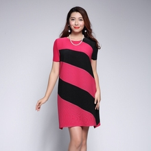 Wholesale lady pleated causal striped summer dress