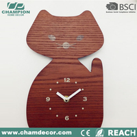 Wooden animal series Wall clock , cat shape talk chime wall alarm wooden clock