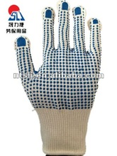 SLJsafety cheap cotton knitted with pvc dots gloves
