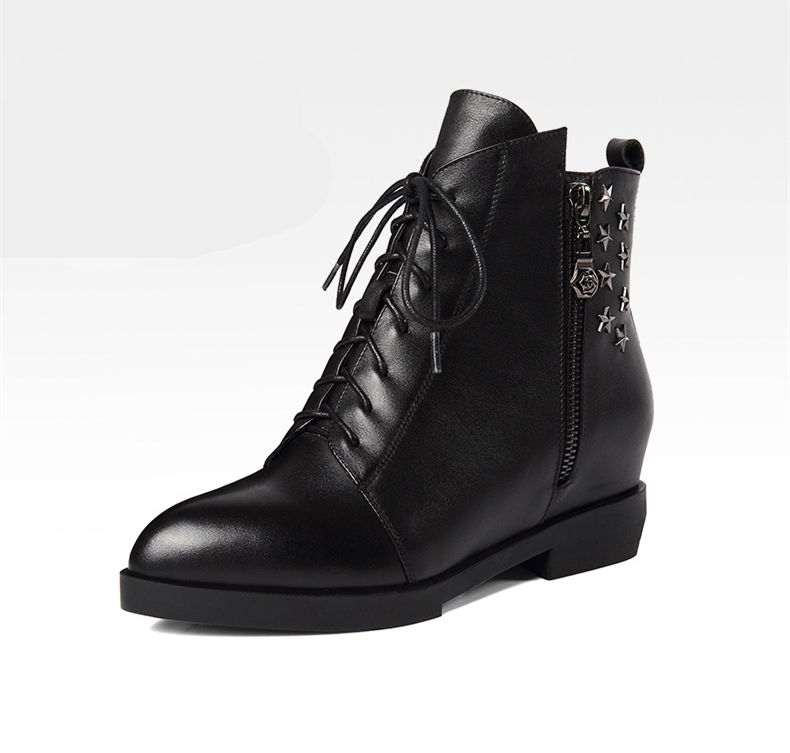 Fashion Ladies ankle <strong>boots</strong> with studs Women's Military Combat <strong>Boots</strong> Lace Up booties