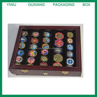Military Challenge Coin, Sport Competition Coin, Poker Chip Display Case Wall Mounted Cabinet, with Lock, COIN30-MAH
