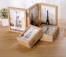New design photo frame wood frame folded three pieces pastoral wall decoration