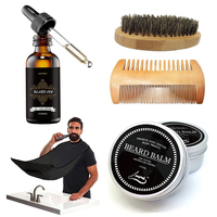 Wholesale Hot Sale Private Label Pure Natural Beard Oil Brush Comb Balm Kit For Beard Care Set Grooming Tool