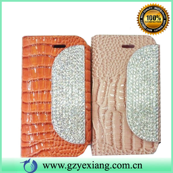 Luxury Bling Diamond Magnetic Flip Leather Wallet Case for iPhone 5 5S Card Slot