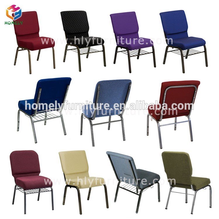 Simple Design Iron Frame Stackable Cheap Used Padded Church Pew Chairs