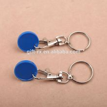 promotional cheap UK one pound size plasitc trolley coins with keyring