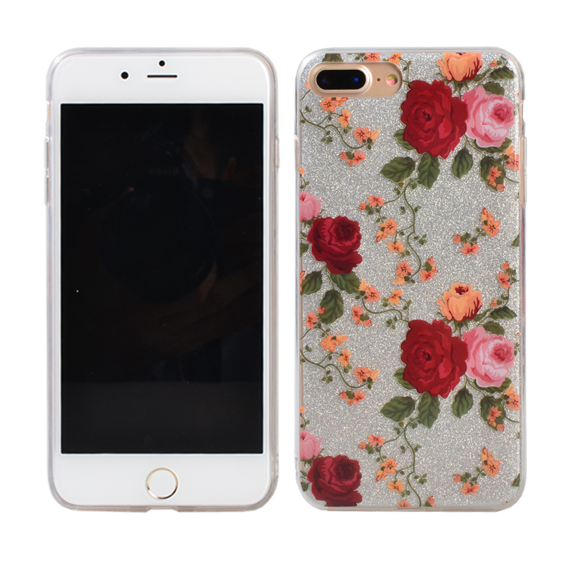Beautiful rose case glitter phone case for iphone 6/6p/7/7p