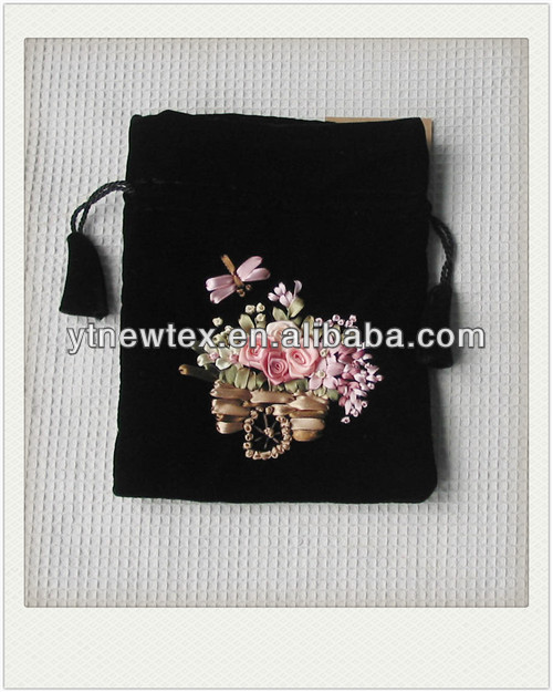china hand made ribbon embroidery promotion bags