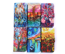 High Quality Fancy Oil Pattern Wallet Cover PU Flip Leather Case For Iphone 5 5S