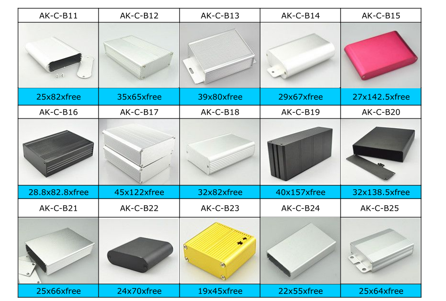 Custom Aluminum Extruded Enclosure Instrument Enclosure Junction Box with colorful