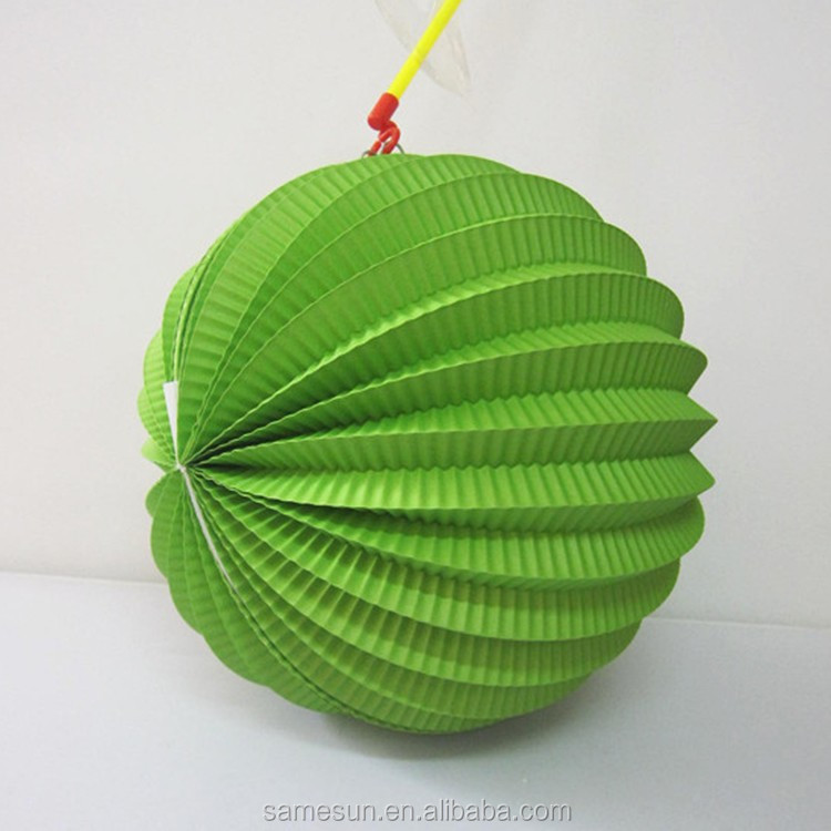 Green Accordion Pleated Paper Lantern Watermelon Lantern