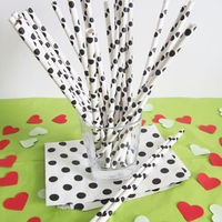 Wholesale Black and white polka dot paper drinking straws