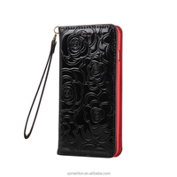 Unqiue Style Strong Magnetic Shining Leather Book Case for iPhone 6plus 6s plus 5.5inch with hand strap