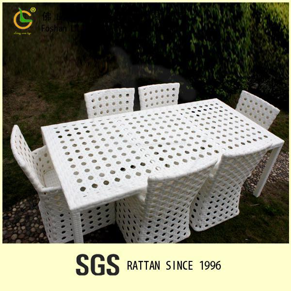 Outdoor rattan furniture white wicker dining room set dining table and chairs