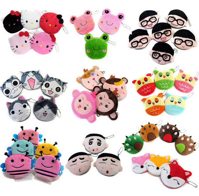 Japan Hot Sale Cute Cartoon Coin Purse Women Girl Kid Child Gift Plush Material Lovely Key Bags Wholesale Clear Coin Purses