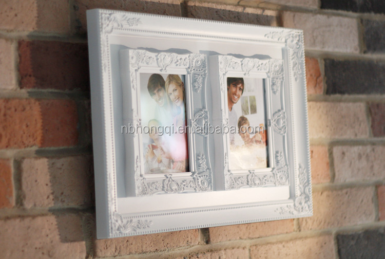 Two pictures 6'' White Retro European Style Plastic Picture Frames