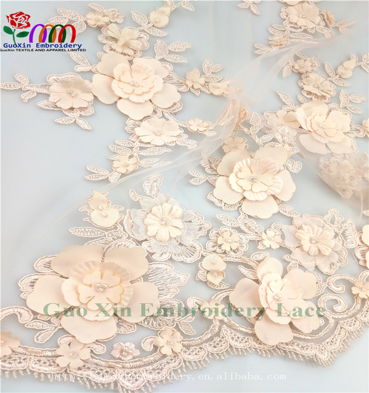 New design 3D lace fabric ,African tulle embroidery lace