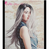 "22"" Affordable Ombre 2 Tones Grey Synthetic Hair Lace Front Wig Straight Silver Wig Dark Roots Heat Resistant Fiber Fake Hair"