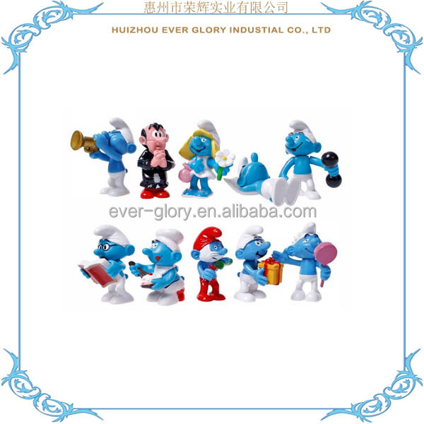 Customized Mini Smurf Figurines Cartoon PVC Smurfs Figurines