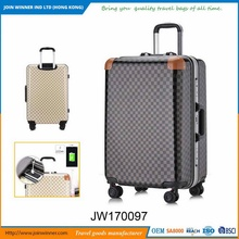 Factory Direct Supplier Hard Sided Luggage With USB Battery Charger